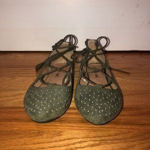 Silver Studded Green Lace-Up Flats